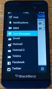 Blackberry z10 hub screen