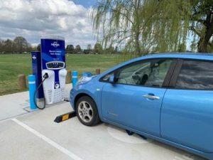 Nissan Leaf charging at Bathurst